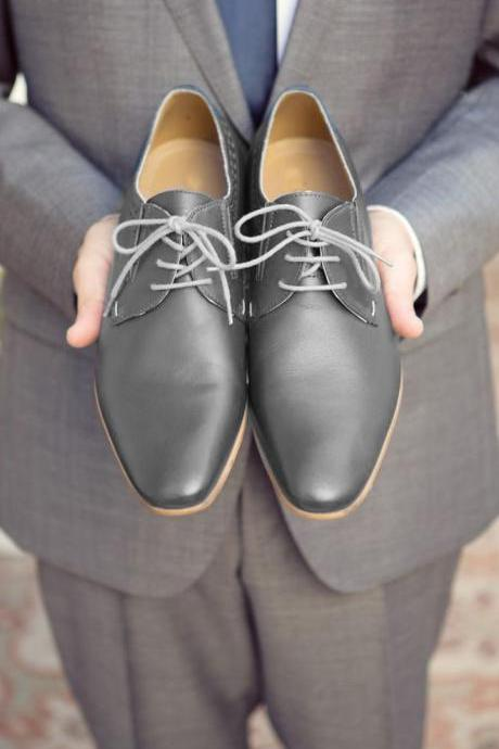 handmade men new gray leather formal fashion shoes