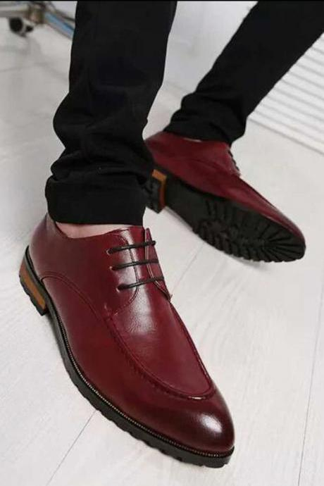 Burgundy Boat Formal Jean Best Deal Handmade Lace Up Shoes