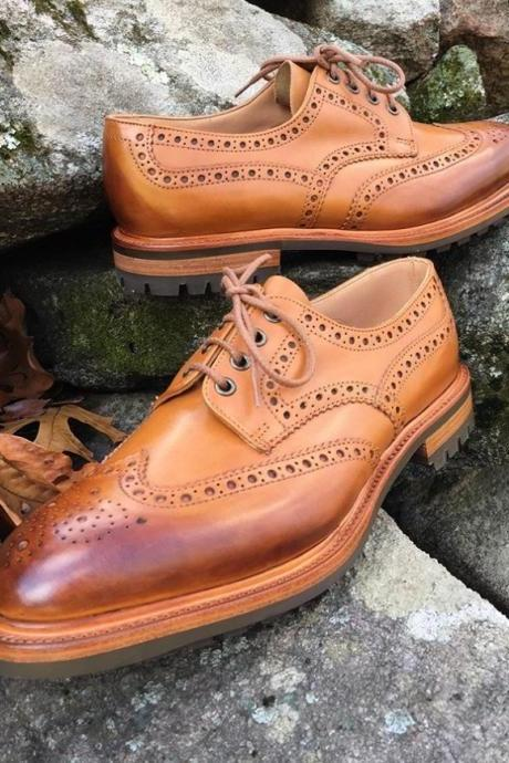Handmade Adult Jeans Boys Brown Wing Tip Leather Lace Shoes