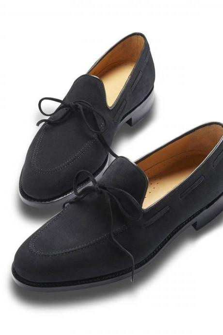 New Handmade Casual Black Suede Brogue Tassels Shoes Trending Occasion Shoes