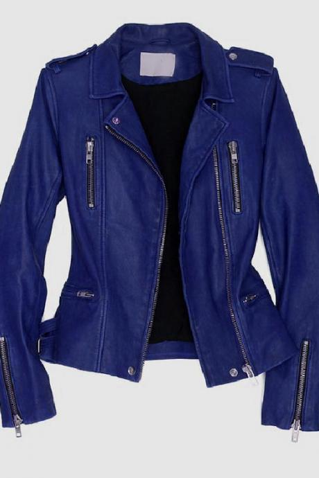 Women Handmade Blue Leather Wearing Jacket Available In All Sizes