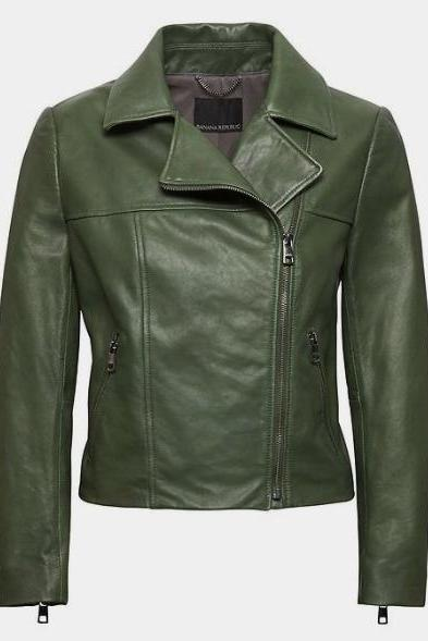 New Women's Trends Banana Republic Modern Leather Moto Jacket Ever Gree