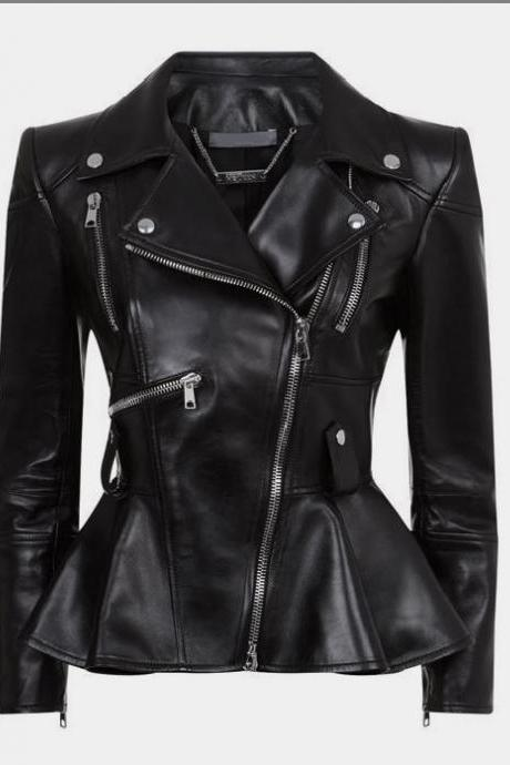 Women New Black Leather Fashion Jacket, Leather Zipper Jacket