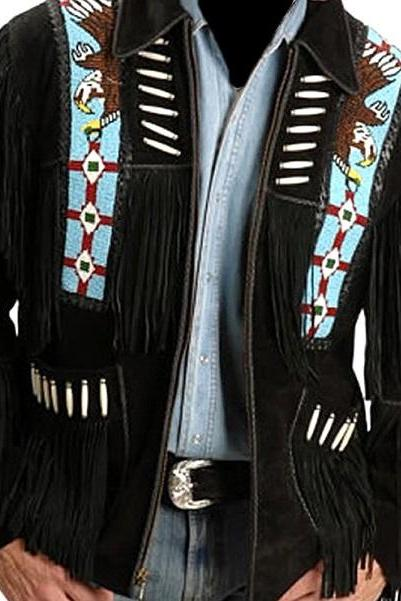 NEW HANDMADE Men Suede Western Cowboy Leather Jacket Bone And Beads Black Fringe