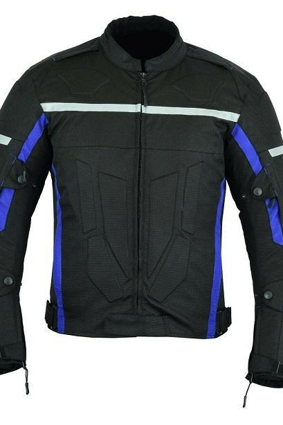 MOTORCYCLE ARMORED BIKERS HIGH PROTECTION WATERPROOF JACKET BLACK/BLUE