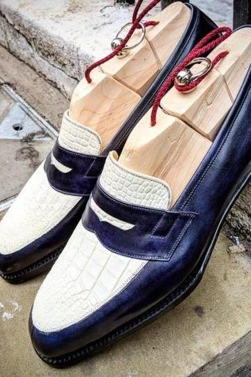 Men's Handmade Blue & White Alligator & Pebbled Leather Shoes, Penny Loafers Shoes