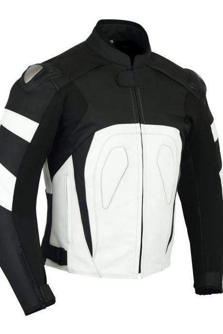 Two Tone Black White Contrast Genuine Cowhide Leather Handmade Racing Motorbike Jacket