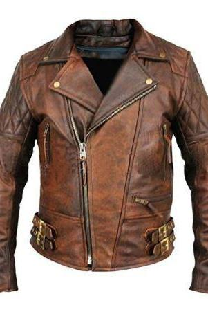 Men's Leather Jacket Motorcycle Bomber Biker Real Lambskin Leather Jacket