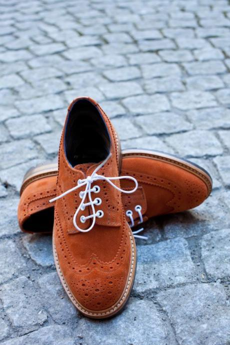 Men Oxford Brogue Handmade Brown Suede Wing Tip Casual Formal Shoes