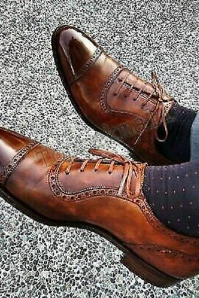 Handmade Men's Leather Oxfords Pointed toe Lace up Brogues WingTip Shoes