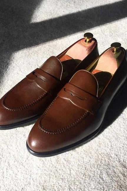 Handmade Men Chocolate Brown Leather Splito Design Penny Formal Wear Shoes