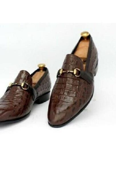 Handmade Mens Alligator Leather Moccasins Loafer, Crocodile Shoes For Men