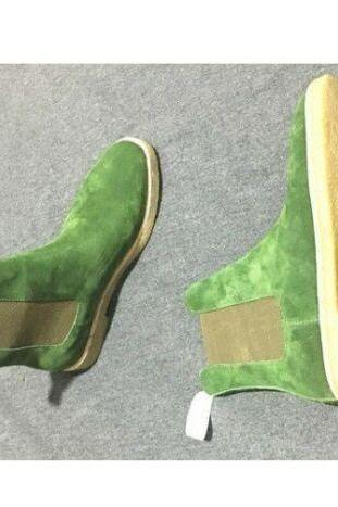 Handmade Men's Green Chelsea Ankle Dress Boots, Real Suede Office Boots