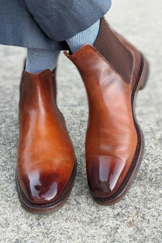 Handmade Men's Brown Chelsea Cap Toe Ankle Dress Boots, Real Leather Boots