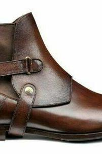 New Handmade Stylish Cover Chelsea Brown Pure Leather Ankle Boots for Men's