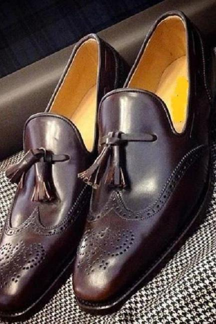 Handmade Men's Brown Leather shoes, Men Tassel Loafer formal Dress Fashion shoes