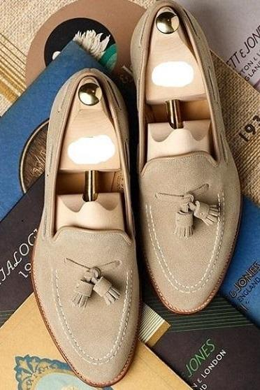 Handmade Men's Suede Loafer Dress Shoes, Men Beige Moccasin Slip On Tussles Shoe