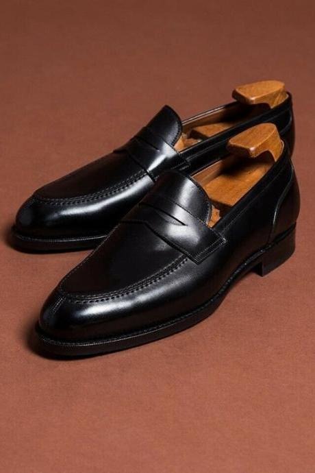 Handmade formal moccasins dress shoes, black office shoe, real leather men shoes