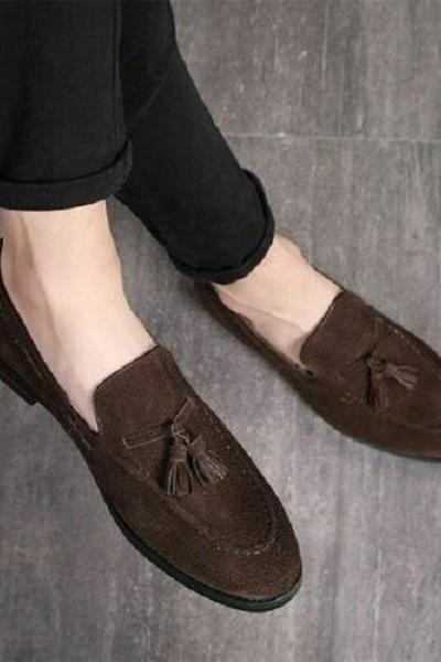 Handmade Men Chocolate brown Suede Shoes, Mens brown tassels Shoes moccasins