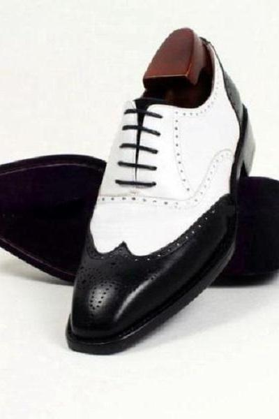 Handmade Formal Shoes Mens two tone business dress Shoes, Men spectator shoes