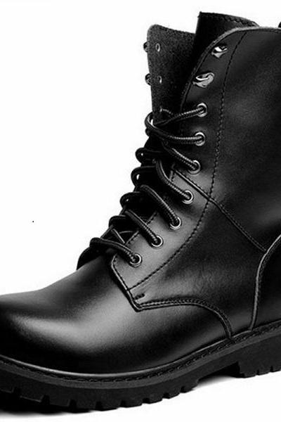 NEW-MEN HANDMADE LEATHER SHOES MILITARY STYLE COMBAT BLACK ANKLE HIGH BOOTS