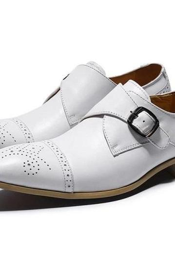 Handmade Men's Cow Leather Monk Strap White Pointed Cap Toe Dress Shoes