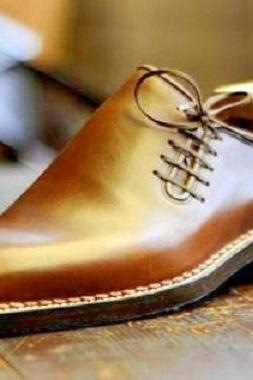 Handmade Good year welted Oxford leather dress shoes, tan formal shoes for mens