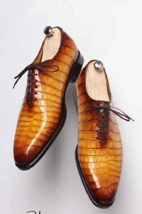NEW Men,s Handmade Leather Shoes, Formal Crocodile Texture Leather Men Tan Shoes