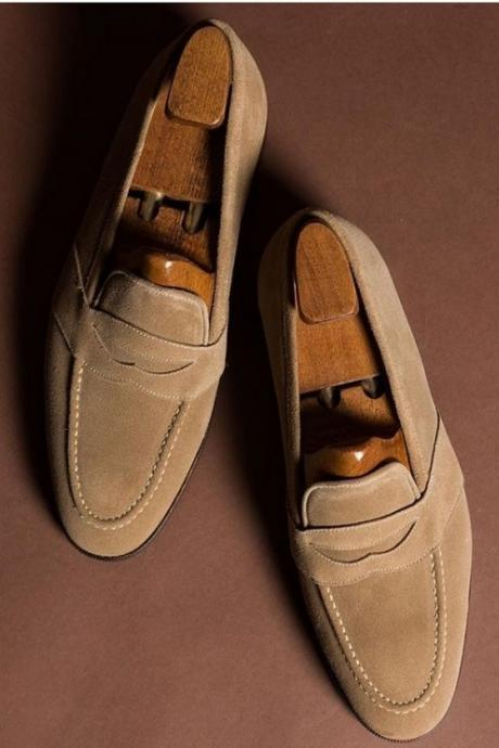 Handmade Men's Suede Penny Loafers Shoes, Men's Beige Moccasin Slip On Shoes