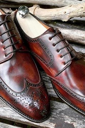 Handmade Men's Leather Lace Up Dress Shoes, Men Burgundy Wing Tip Brogue Shoes