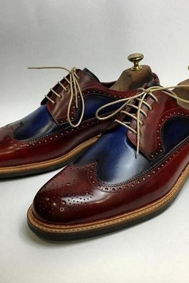 Handmade Men's Leather Shoes, Men Navy Blue Burgundy Wing Tip Brogue Shoes
