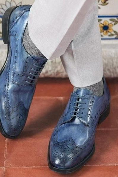 Handmade Men's Leather Lace Up Shoes, Men's Blue Wing Tip Brogue Designing Shoes