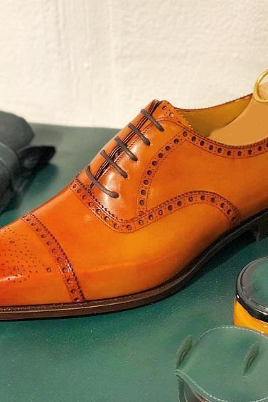 Handmade Men's Leather Lace Up Shoes, Men's Tan Cap Toe Brogue Stylish Shoes