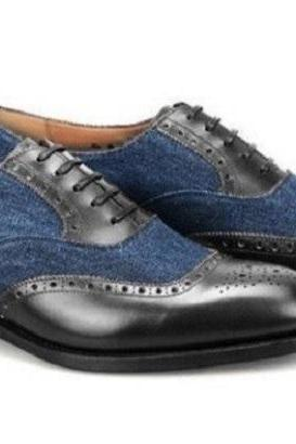 Handmade Men's Leather Suede Lace Up Shoes, Men Navy Blue Black Brogue Shoes