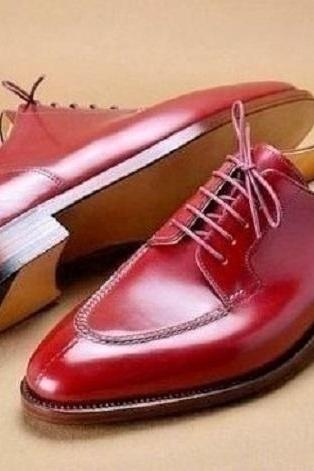 Handmade Men's Leather Lace Up Shoes, Men Burgundy Split Toe Dress Formal Shoes