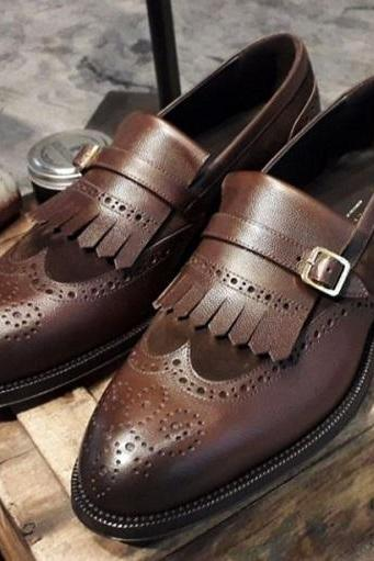 Handmade Men's Leather Suede Monk Strap Shoes, Men Wing Tip Brogue Fringe Shoes