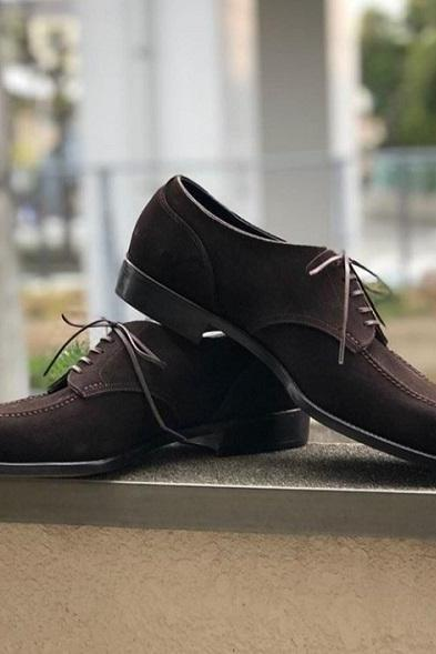 Handmade Men's Suede Lace Up Casual Shoes, Men's Dark Brown Derby Dress Shoes