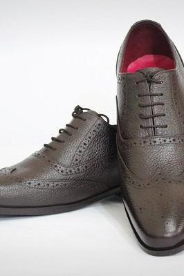 Handmade Men's Brown Leather Shoes, Men Wing Tip Brogue Dress Lace Up Dress Shoe