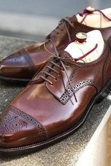 Handmade Men's Leather Lace Up Shoes, Men Brown Cap Toe Brogue Stylish Shoes