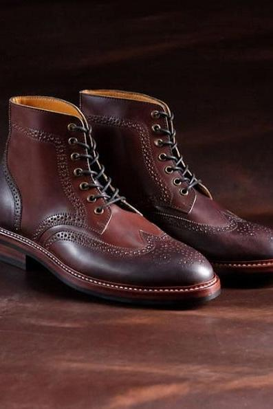 Handmade Men's Ankle High Leather Boot, Men's 2 Tone Brown Wing Tip Brogue Boots