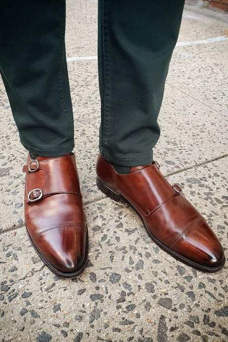 Men's Handmade Double Monk Leather Dress Shoes, Custom Made Formal Shoes
