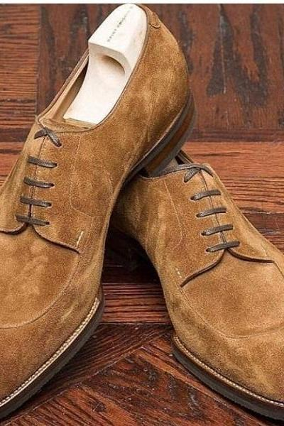 Handmade Men's Suede Stylish Lace Up Shoes, Men's Brown Color Split Toe Shoes