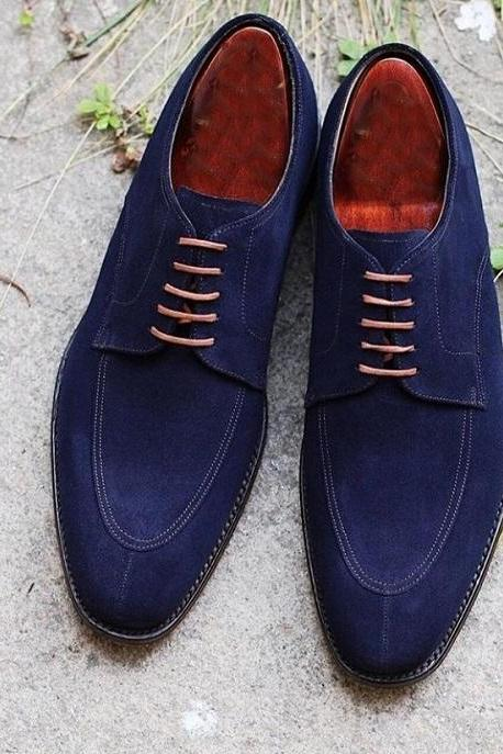Handmade Men's Suede Stylish Lace Up Shoes, Men's Blue Color Split Toe Shoes
