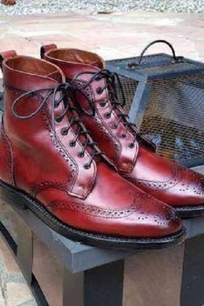 Handmade Burgundy Wing Tip Brogue Leather Boots, Men Ankle High Designer Boots