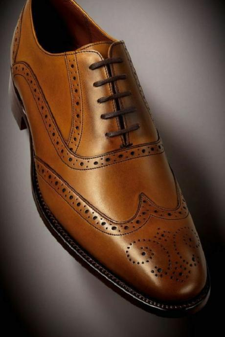 Handmade Men's wingtip brogue shoes, Men Tan Leather Formal Dress Office shoes