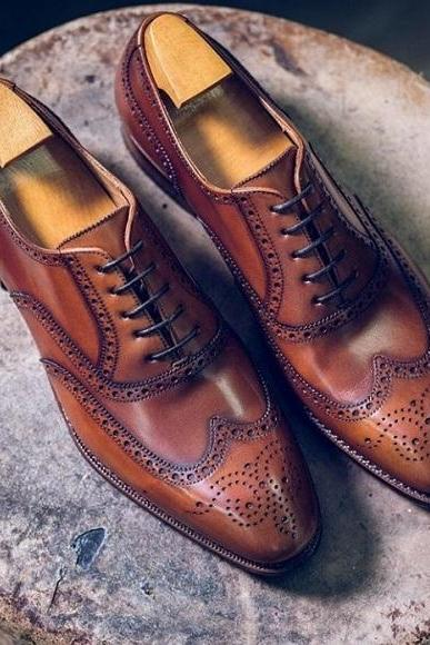 Men's Handmade Brown Color Leather Shoes, Men Wing Tip Brogue Dress Formal Shoes
