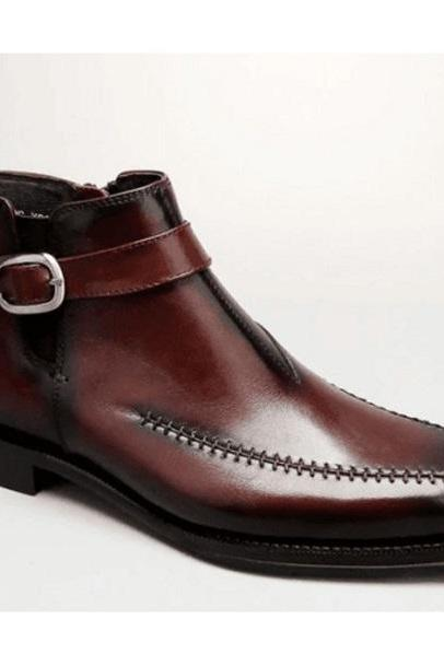 New Handmade Men's Brown Ankle Boots, Men Leather Dress Boots