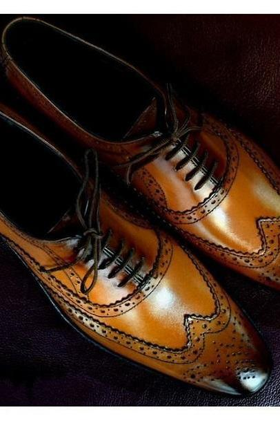 Handmade Men's Tan Color Wing Tip Shoes, Men Brogue Formal Lace Up Dress Shoes
