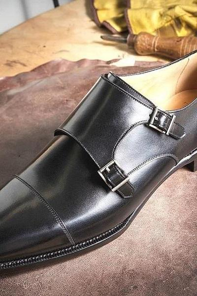 Handmade Men's Double Monk Black Leather Oxfords Formal Shoes