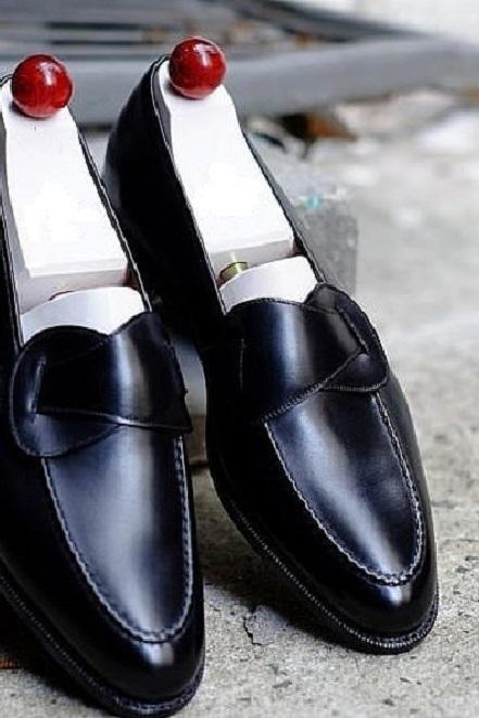 Handmade Best Men's Black Leather Loafers Dress Custom Made Formal Shoes